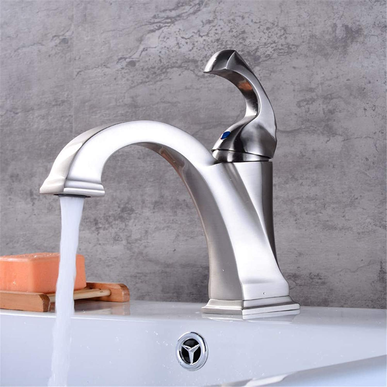 Wasserhahn Küche Waschbecken Badezimmer Voller heier und kalter kupferner Bassin-Hahn gebürsteter Nickel-Waschbecken-Mischer