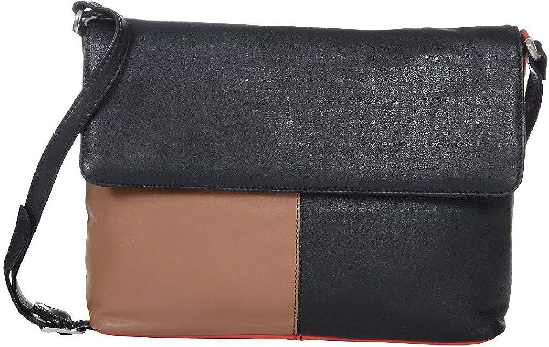 HiLEDER Women's 100% Pure Genuine Nappa Leather Sling Crossbody Messenger Leather Bag (Tan and Black)