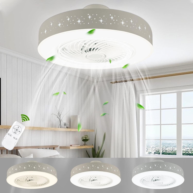 Ventilador De Techo Con Iluminación LED 48W,Ventiladores para el techo Con Mando A Distancia 3000K-5000K Velocidad Del Viento Ajustable Y brillo Silencio Φ50*H20CM