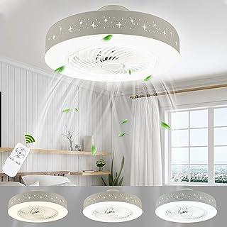 LUTDK 45W LED Fan Plafonnier Moderne Nordique Dimmable Ventilateur Au Plafond avec Lampe Ultra-Mince Invisible Lustre De V...