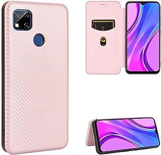 電話ケース Xiaomi Redmi 9cのXing Chen 9 Cカーボンファイバーテクスチャ磁気横フリップTPU + PC + PUレザーケースカードスロット スマートフォン裏表紙 (Color : Pink)
