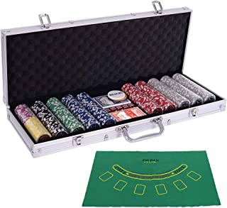Allbest2you 500 Dice Chips Poker Set with Silver Aluminum Case Holder