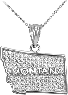 Montana MT State Map Pendant Necklace in 925 Sterling Silver