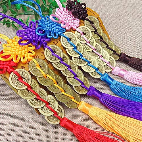FISH4 Nudo Manual Chino Fengshui amuletos de la SuerteMonedas de CobreAntiguasMascota protección de la Prosperidad Buena Fortuna decoración del Coche del hogar-Azul
