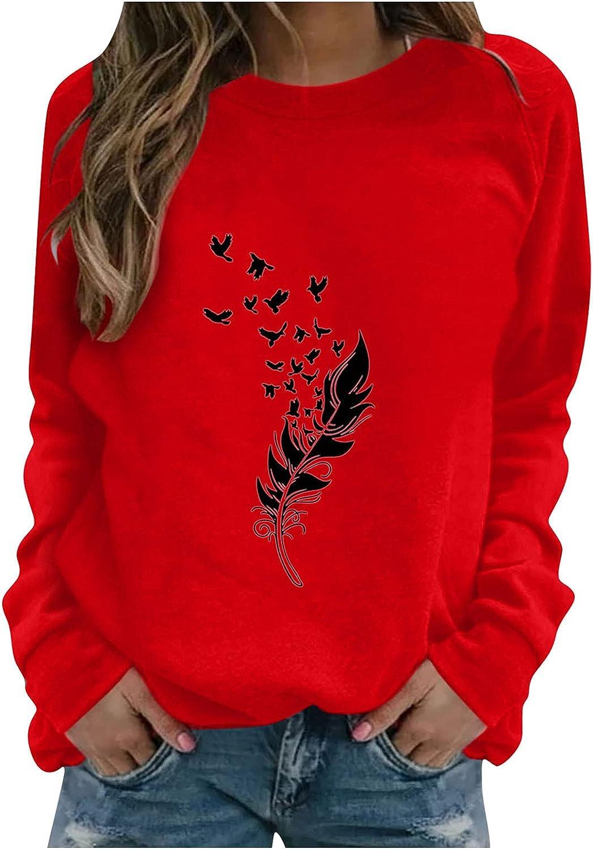 felwors Sweatshirts for Women, Women's Cute Print Lightweight Sweatshirt Long Sleeve Casual Crewneck Pullover Shirts