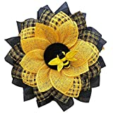 dasg Bee Day Party Decorations Wreath for Front Door Leaf Bee Sunflower Artificial Wreath World Bee Day Mesh Garland Wall Decor Sunflower Hanging Pendants Ornaments for Party Farmhouse Wedding (A)
