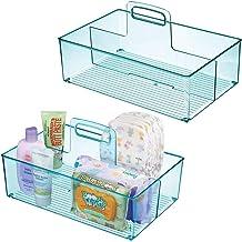 mDesign panier de rangement bébé en plastique (lot de 2) – rangement enfant à 2 compartiments & poignée – boite de rangeme...