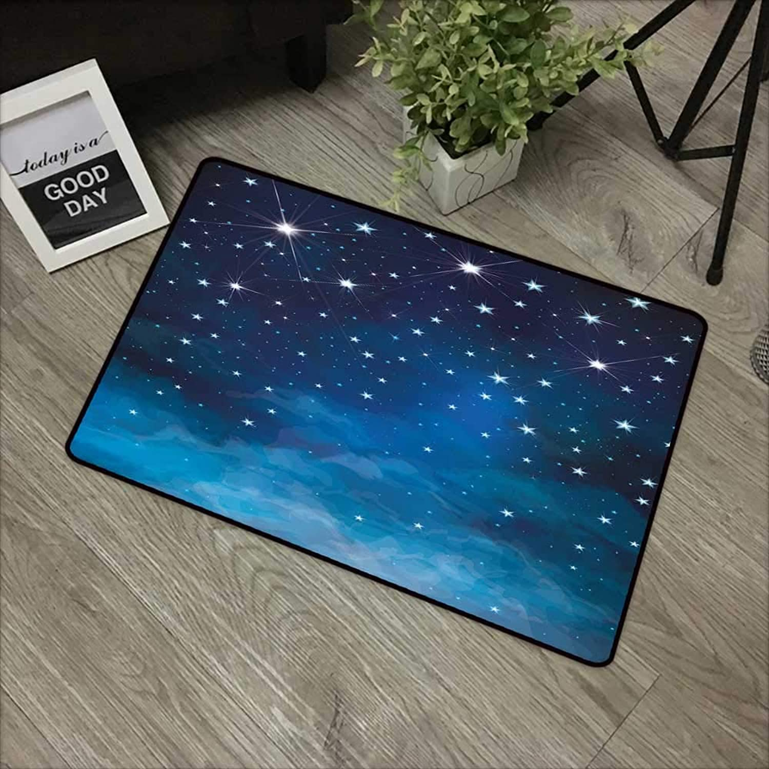 Clear Printed Pattern Door mat W35 x L59 INCH Night,Vibrant Star in Abstract Ombre Style Sky Astronomy Themed Graphic,Light bluee Dark bluee White Easy to Clean, no Deformation, no Fading Non-Slip Door