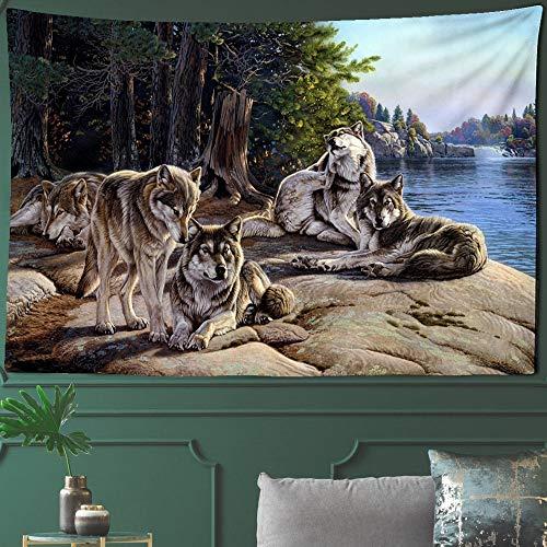 KHKJ Tapiz de Lobo Animal Tribu del Bosque Grupo de Cama de Animales Tapiz de Lobo decoración del hogar A7 200x150cm