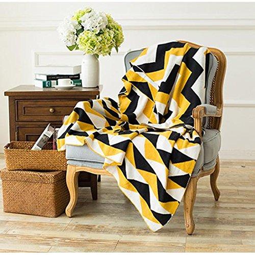 Couvre-lit couverture pour lit Canapé Bras de chaise Naturel 100% coton à rayures Singer lavable en machine léger mais chaud Cs055, Cosy-l, jaune, 150*200cm