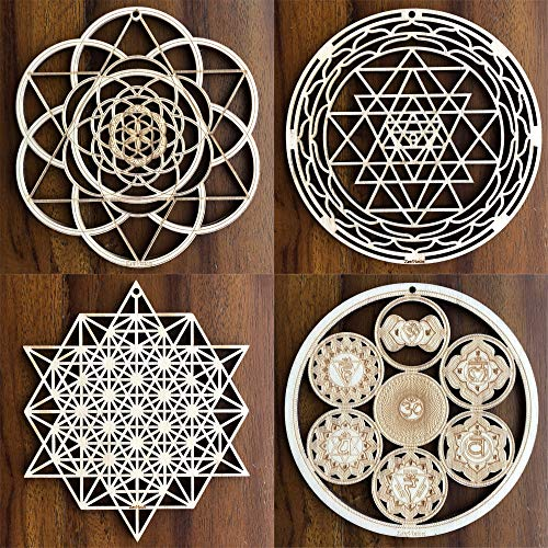"ZenVizion 5.31"" Sacred Geometry Set 6, Seed of Life, Sri Yantra (Round), 64 Star Tetrahedron, Energy Centers Wheel of Life Wall Art, Yoga Hanging Symbol, Laser Cut Wooden Wall Sculpture, Car Hanger"