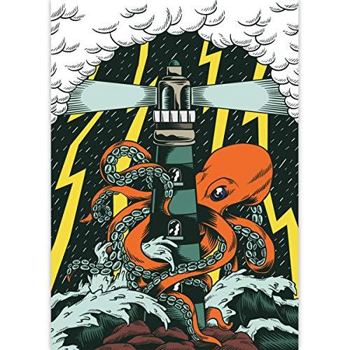 1 Comic Seemann DIN A3 Malblock mit Octopus und Leuchtturm • Zeichenblock Skizzen-Block 25 Blatt weiß, kopfverleimt, holzfreies Qualitäts-Papier 100g/m² - für Schule, Basteln, Hobby