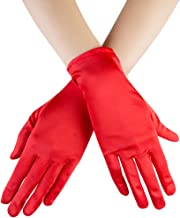 Xuhan Short Satin Gloves for Women Opera Gloves Wrist Length