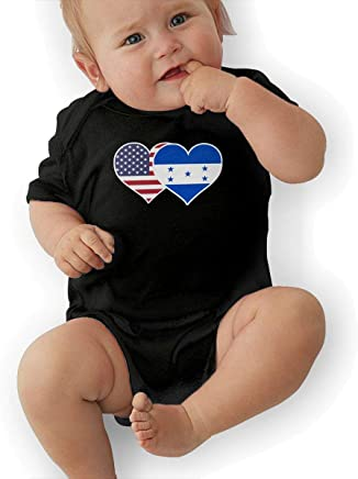 CHARLOTTE WARD Baby Boy Short Sleeve Bodysuits American Honduras Flag Heart Toddler Jumpsuit