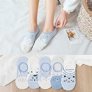 CatSocks unicornio de dibujos animados 5Pairs / Lot lindo de animales divertidos calcetines de las mujeres de verano cortos calcetines de algodón de las señoras del calcetín