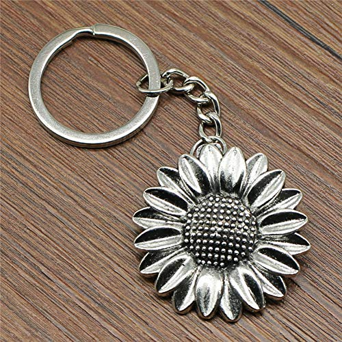 YCEOT sleutelhanger zonnebloem 37 mm sleutelhanger van metaal met sleutelhanger als souvenir voor vrouwen