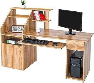 TecTake 800731 Bureau Design Informatique en Bois, pour Ordinateur, avec Rangement pour l'unité Centrale, Tablette pour Cl...