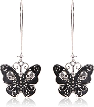1c4df2d3b421 Jesming Long Vintage Butterfly Earrings For Women Fashion Jewelry Antiuqe  Silver Plated Black Enameled Gothic Skull