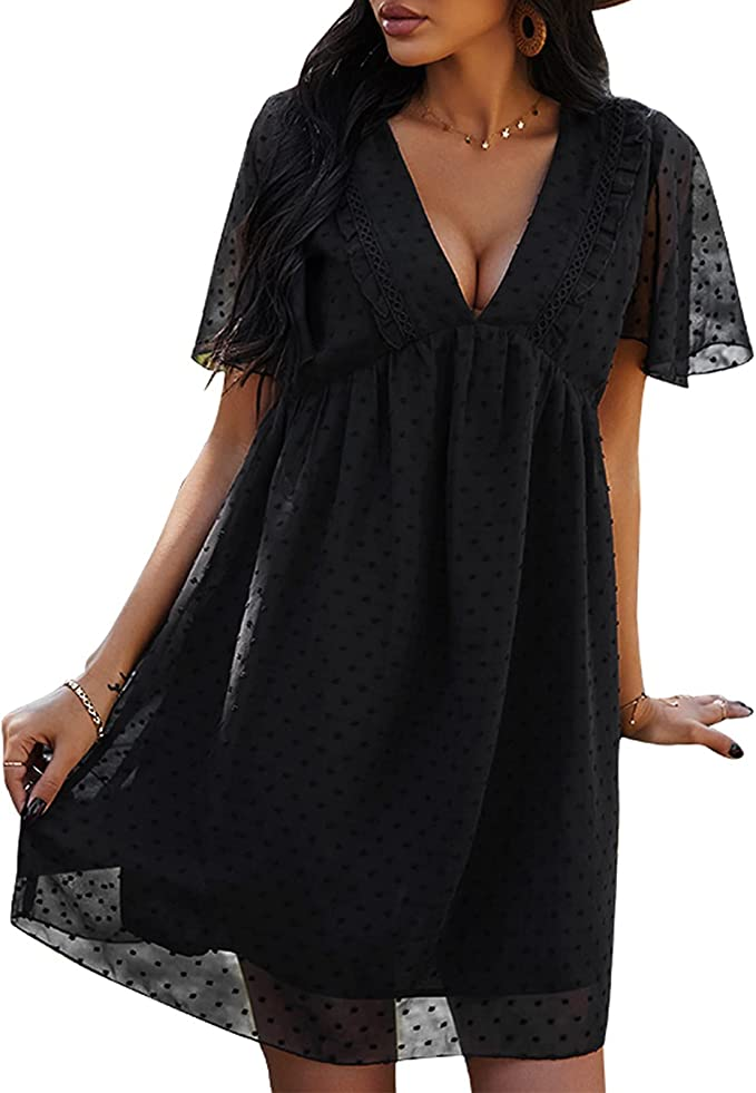 Women's Short Sleeves Mini Dress Sexy V Neck Dot Flowy Casual Dress
