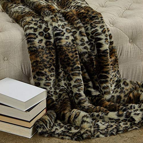 Review Of 1 Piece California King 102116 Wild Leo Faux Fur Blanket, Modern Reversible Solid Color Br...