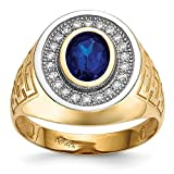 14k Yellow Gold Cubic Zirconia Cz Oval Blue Mens Band Ring Size 10.00 Signet Fine Jewelry For Dad Mens Gifts For Him