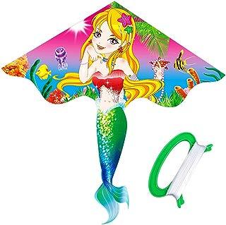 HENGDA KITE- Kites For Kids Children Lovely Cartoon Mermaid Kites With Flying Line