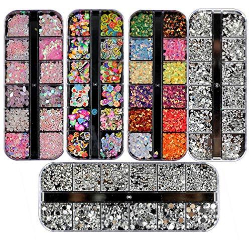 5 Boxen Strasssteine für Nageldesign, mehrfarbige Nageldekorationen, Nagelkunst-Zubehör, DIY, Make-up