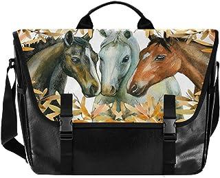 Bolso de lona para hombre y mujer, diseño retro de hojas de caballos, ideal para iPad, Kindle, Samsung