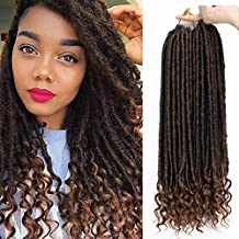 AISI BEAUTY Goddess Locs Crochet Hair Pre-Looped Faux Locs Crochet Hair with Curly Ends Synthetic Hair Extension for Black Women Braiding 6packs/Lot 24 Roots(1B/30#)