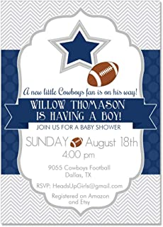 Set of 12 Personalized Baby Shower Invitations and Envelopes with Dallas Texas Cowboys Football NV9055