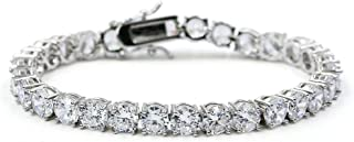 """JINAO 1 Row AAA Gold Silver Iced Out Tennis Bling Lab Simulated Diamond Bracelet 8"""" 7``"""