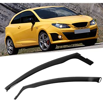 Wind Deflectors,2Pcs Car Body Window Visor Car Vent Deflectors Embedded Type Sun Rain Guard Front Rear Wind Deflectors for IBIZA 3-doors Hatchback 09-17