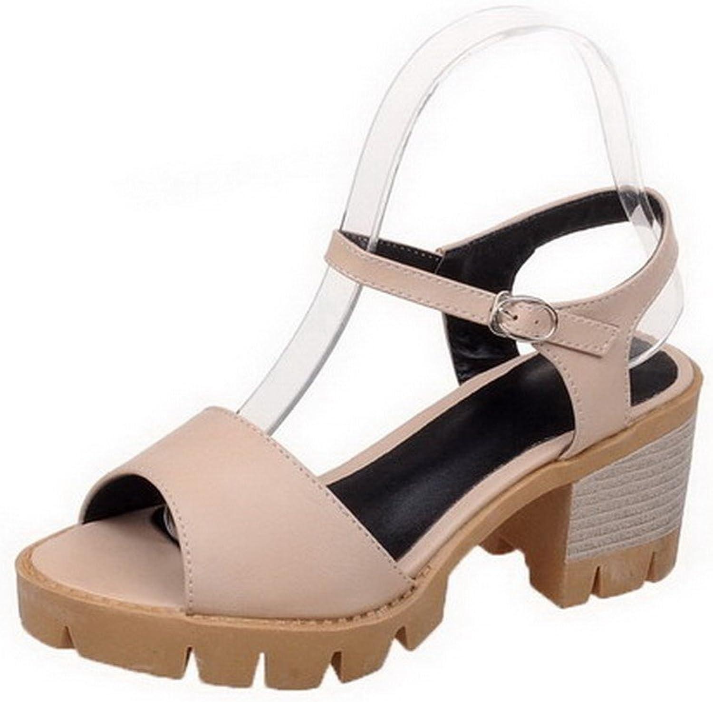 WeiPoot Women's PU Kitten-Heels Peep Toe Solid Buckle Sandals