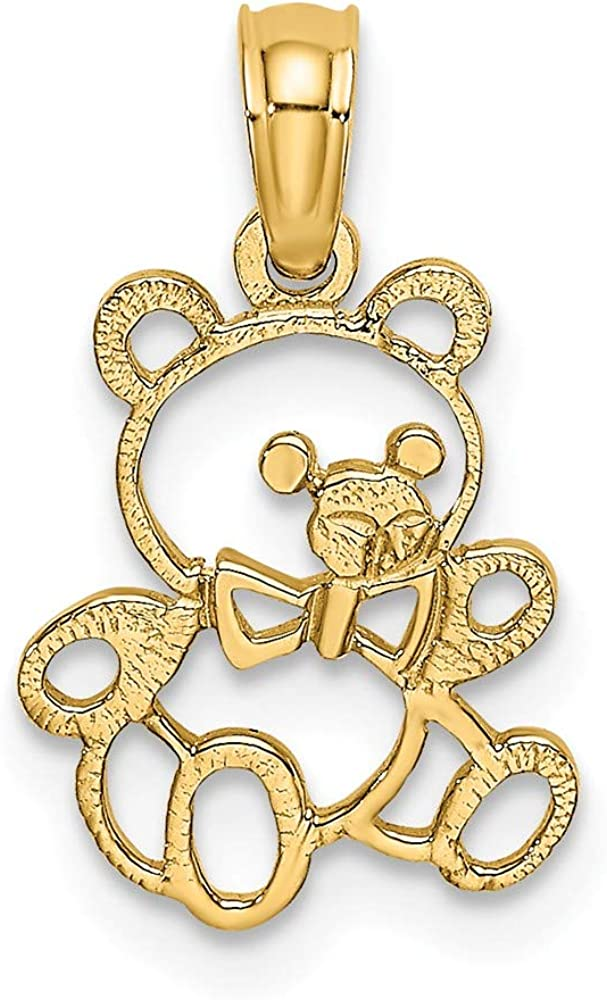 Solid 14k Yellow Gold Cut out TEDDY BEAR Charm Pendant - 17mm x 10mm
