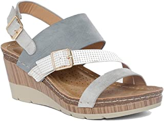 Addons Women's Metal Buckle Detail Wedges Fashion Sandals
