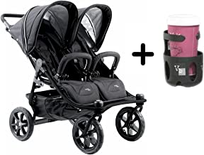 Valco Baby Tri Mode Duo X All Terrain Double Stroller (2016) with Valco Baby Universal Cup Holder, Black