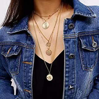 Asooll Multi-Layered Coins Pendant Necklace Fashion Long Choker Necklace Gold Jewelry Chain for Women and Girls