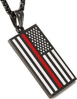 American Flag Patriotic Cross Dog Tag Religious Faith Jewelry Pendant Necklace