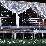Cortina LED 3x3m Luces de Cadena de Cortina, 300 LED Cortina de Luces,IP44, 8 Modos Cortina Luces LED para Decoración de Casa, Ventana, Navidad, Fiestas, Bodas (Blanca Frío)