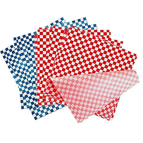 Papel para Envolver Alimentos, 200 Piezas Hojas Envolturas de Cera de Abejas, Papel de Regalo a Prueba de Aceite, para Cocina Hamburguesa Papas Fritas Pizza Carne Empanizada (Rojo y Azul)