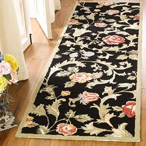 Safavieh Chelsea Collection HK310B Hand-Hooked Black Premium Wool Runner (2
