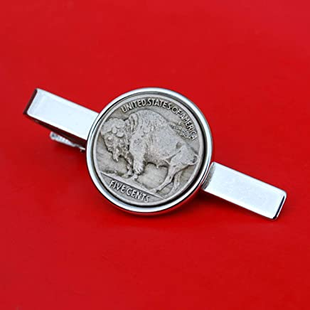US 1913~1938 Indian Head Buffalo Nickel 5 Cent Coin Silver Plated Tie Clip Clasp NEW
