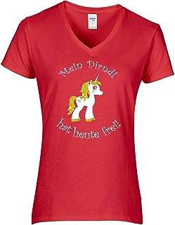BlingelingShirts Elegantes Shirt Damen Oktoberfest Einhorn Shirt Mein Dirndl hat Heute frei blau