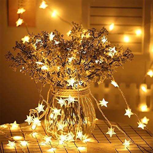 Eyscoco LED Sterne Lichterketten,6M 40 LED Dekorative Sterne Lichterkette,Batteriebetriebene Wasserdicht Außen Innen Lichterketten für Party, Weihnachten, Halloween(Warmweiß)