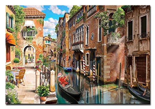 Berger Designs - Wandbild auf Leinwand als Kunstdruck in verschiedenen Größen. Romantische Straße in Venedig. Beste Qualität aus Deutschland (60 x 40 cm BxH)