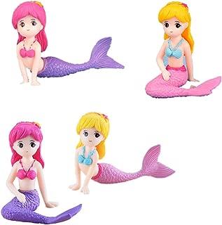 GHTERT 4 Pcs Miniature Mermaid Figurines, Mermaid Doll Cake Toppers, Mermaid Figure Collection Playset, Birthday Cake Decoration