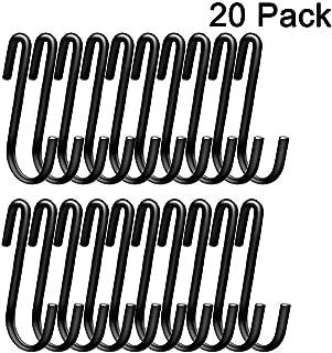 LOYMR 20 Pack Heavy Duty S Hooks Hanging Hangers Pan Pot Holder Rack Hooks for Spoons Pans Pots Utensils Clothes Bags Towels Plants etc(Black)