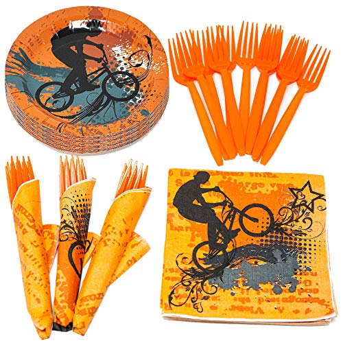 Extreme Party Value Party Supplies Pack (58+ Pieces for 16 Guests), Value Party Kit, BMX Party Plates, BMX Birthday, Napkins, Forks, Tableware