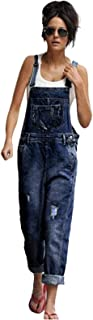 Women Vintage Denim Bib Overalls with Pocket Casual Wash Blue Straight Leg Jeans for Juniors