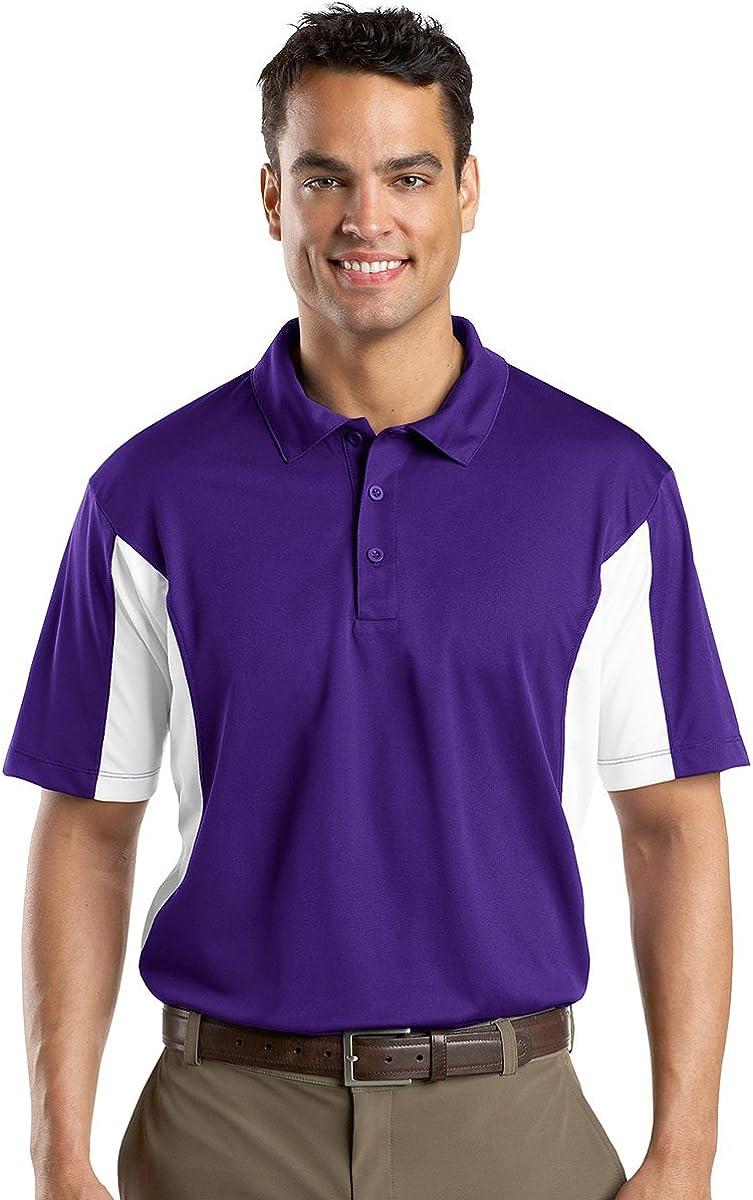 Sport-Tek Men's Side Block Performance Polo Shirt_Purple/White